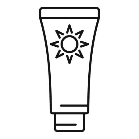 Uv protection tube cream icon, outline style 일러스트