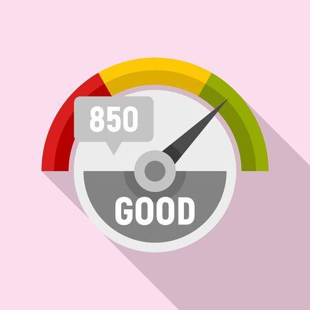 Good credit score icon, flat style