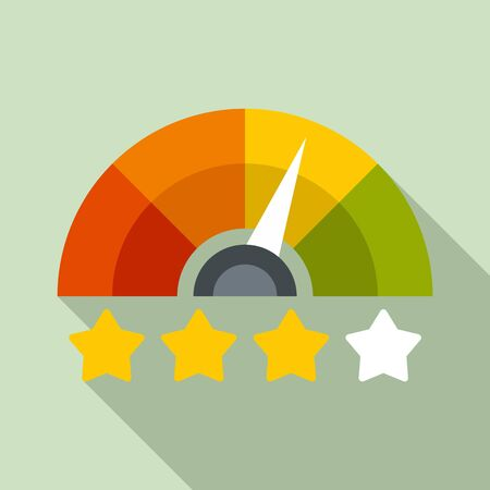 Star rating credit score icon. Flat illustration of star rating credit score vector icon for web design
