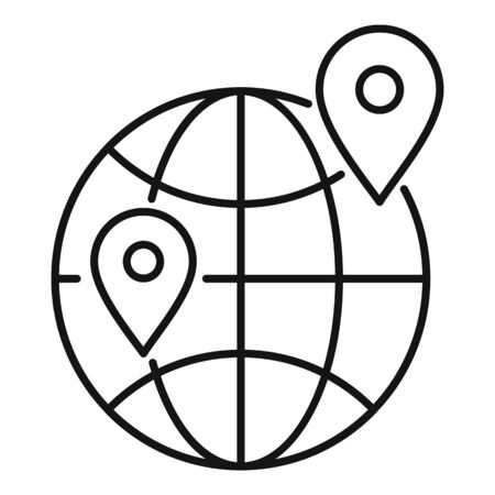 Global relocation icon, outline style Illustration