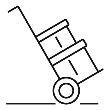 Warehouse parcel cart icon, outline style