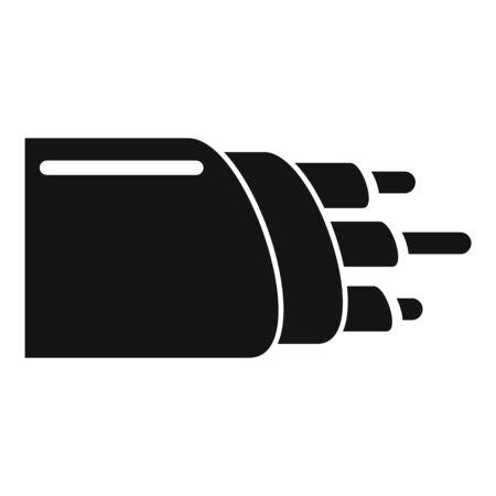 Wire optical fiber icon, simple style
