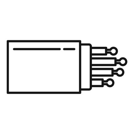 Optical fiber port icon, outline style Stock Illustratie