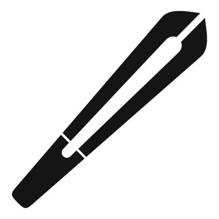 Eye lens forceps icon, simple style