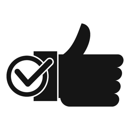 Thumb up approved icon, simple style