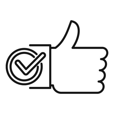 Thumb up approved icon, outline style Иллюстрация