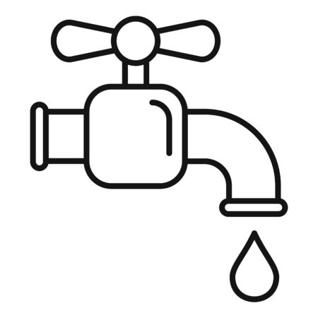 Water tap icon, outline style