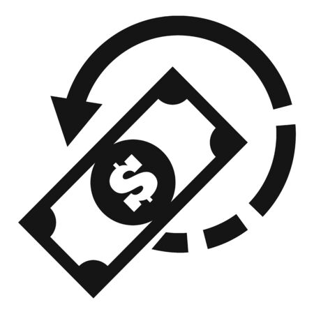 Pay money cash back icon, simple style