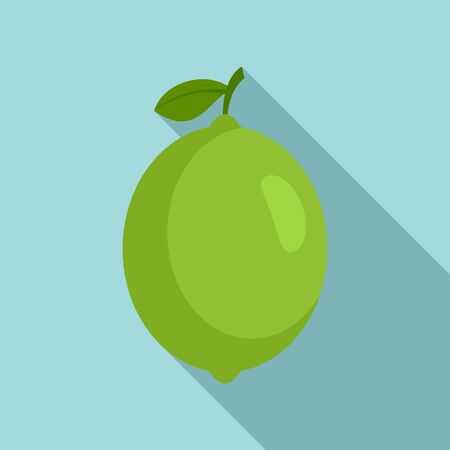 Whole lime icon, flat style