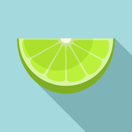 Fresh cutted lime icon, flat style