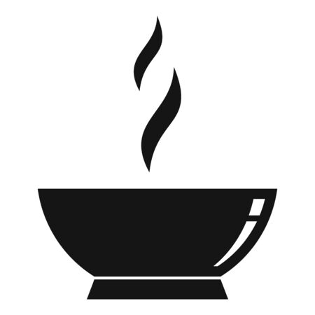 Hot cooked bowl icon. Simple illustration of hot cooked bowl vector icon for web design isolated on white background Ilustración de vector