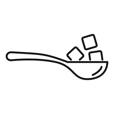 Sugar cubes spoon icon, outline style Illustration