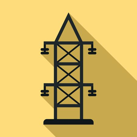 Electric tower icon. Flat illustration of electric tower vector icon for web design Illustration