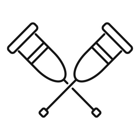 Medical crutches icon, outline style