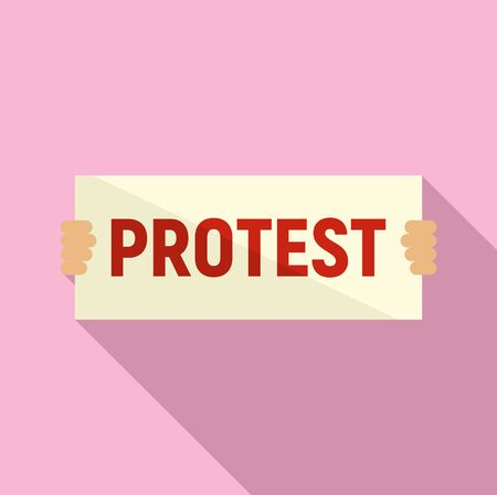 Protest in hands icon, flat style