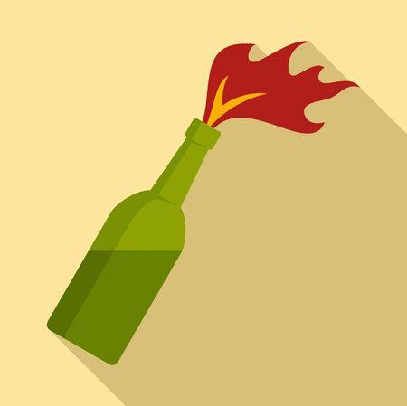 Molotov cocktail icon, flat style