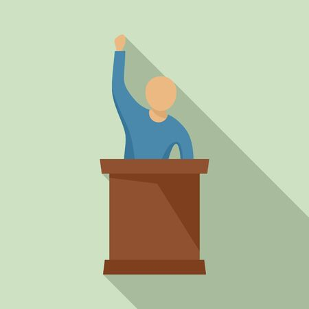 Speaking protester icon. Flat illustration of speaking protester vector icon for web design