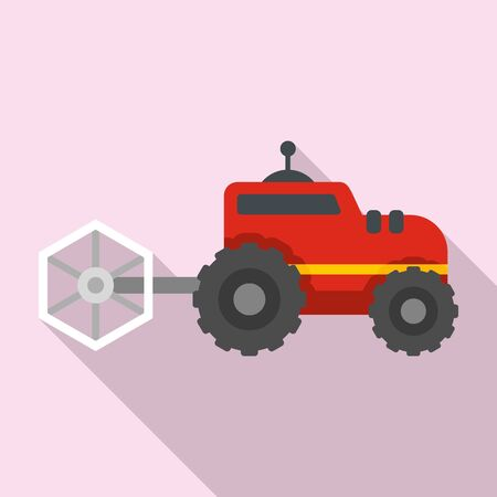Farm tractor icon, flat style