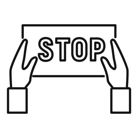 Stop protest icon. Outline stop protest vector icon for web design isolated on white background