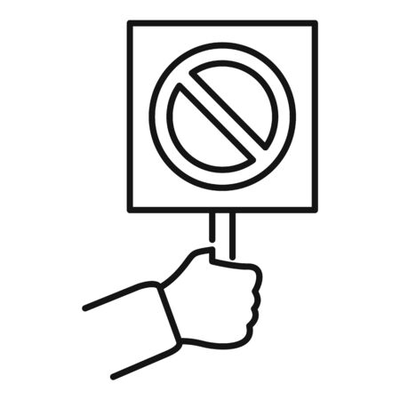 Hand hold stop sign icon. Outline hand hold stop sign vector icon for web design isolated on white background