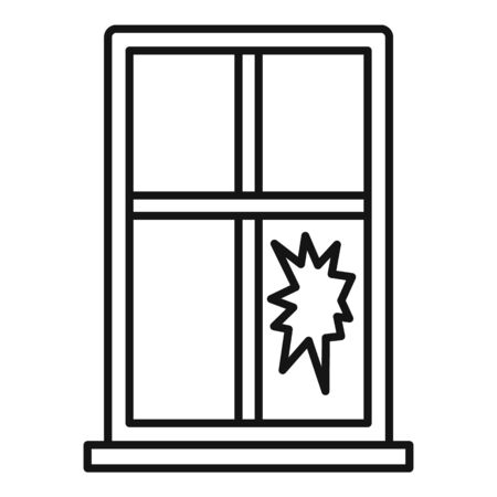 Broken window icon. Outline broken window vector icon for web design isolated on white background Illustration
