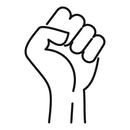 Fist icon. Outline fist vector icon for web design isolated on white background Illustration