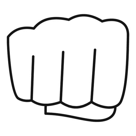Hand fist icon. Outline hand fist vector icon for web design isolated on white background