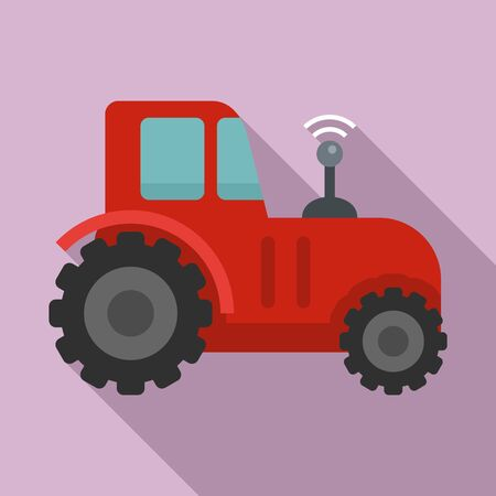 Autonomous tractor icon. Flat illustration of autonomous tractor vector icon for web design