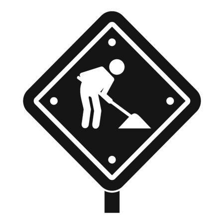 Road repair sign icon, simple style