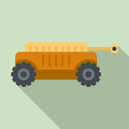 Self driving farm machine icon, flat style
