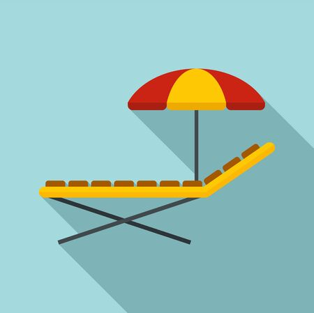 Sunbed and umbrella icon. Flat illustration of sunbed and umbrella vector icon for web design