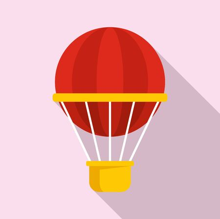 Hot air balloon icon. Flat illustration of hot air balloon vector icon for web design