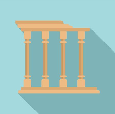 Turkish ancient columns icon. Flat illustration of turkish ancient columns vector icon for web design