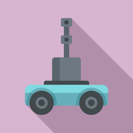 Self driving farm machinery icon. Flat illustration of self driving farm machinery vector icon for web design