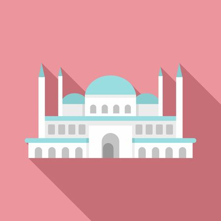 Turkish mosque icon. Flat illustration of turkish mosque vector icon for web design