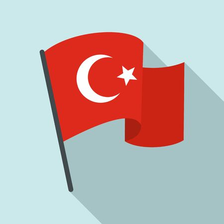 Turkey flag icon. Flat illustration of turkey flag vector icon for web design