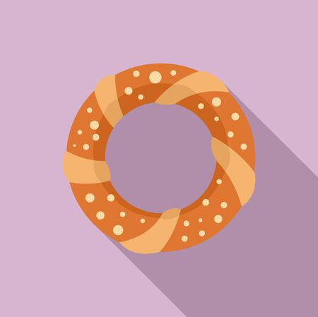 Turkish bagel icon. Flat illustration of turkish bagel vector icon for web design