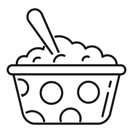 Food bowl and spoon icon. Outline food bowl and spoon vector icon for web design isolated on white background
