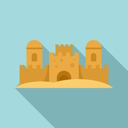 Beach castle icon. Flat illustration of beach castle vector icon for web design Ilustrace