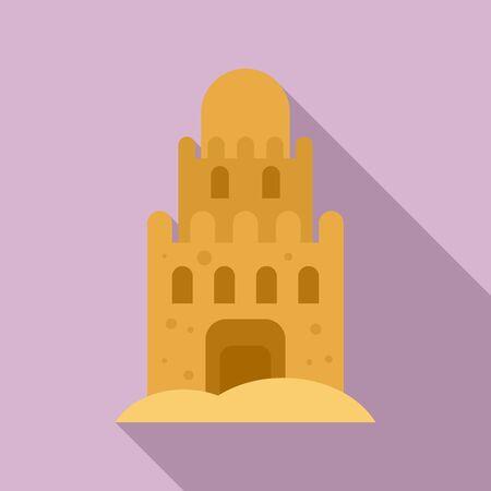 Beach sand castle icon. Flat illustration of beach sand castle vector icon for web design