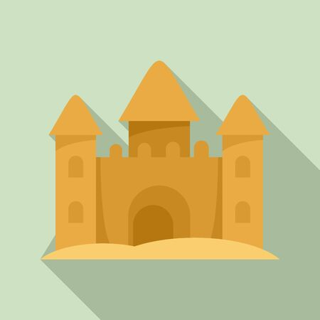 Castle made of sand icon, flat style Ilustrace