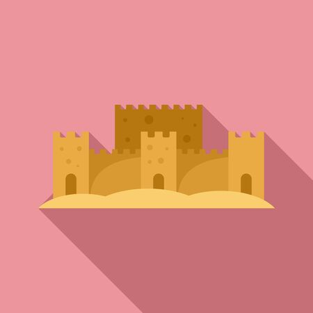 Sand art castle icon, flat style Ilustrace