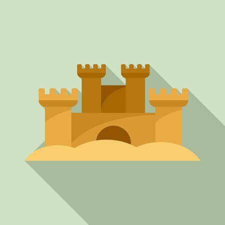 Sand sculpture castle icon, flat style