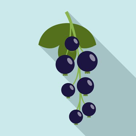 Blue currant berry icon. Flat illustration of blue currant berry vector icon for web design