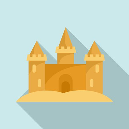 Miniature sand castle icon. Flat illustration of miniature sand castle vector icon for web design Иллюстрация