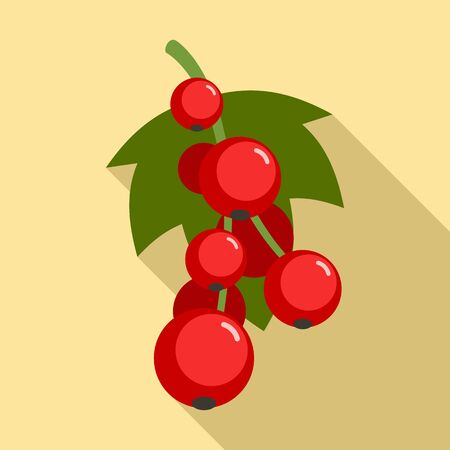 Red currant berries icon. Flat illustration of red currant berries vector icon for web design
