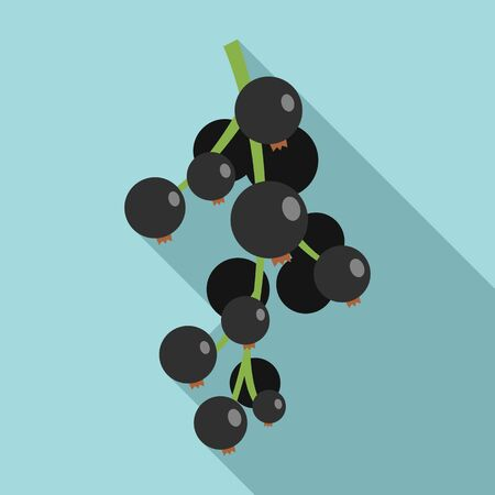 Black currant fruit icon. Flat illustration of black currant fruit vector icon for web design