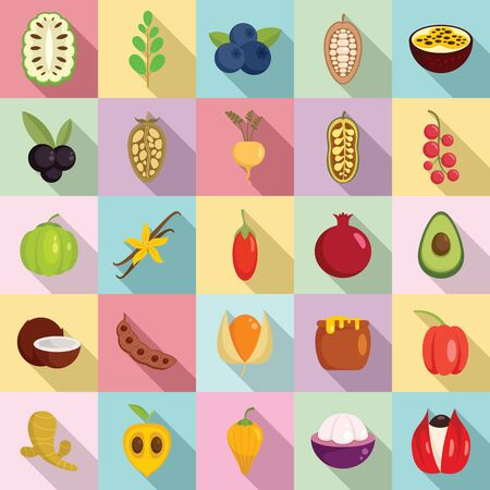 Superfood icons set. Flat set of superfood vector icons for web design