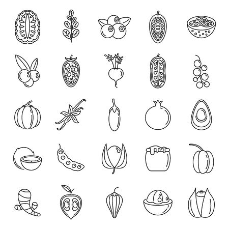 Modern superfood icons set. Outline set of modern superfood vector icons for web design isolated on white background