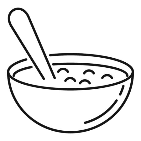 Bowl oats grains icon. Outline bowl oats grains vector icon for web design isolated on white background Ilustrace